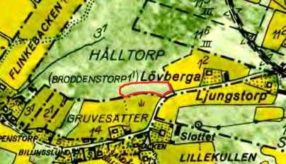 """Med rött markerat är """"Klosterbergs intaga""""= Tjäders torp = Rättarebacken"""