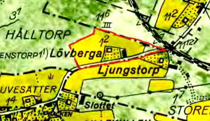 Kartan 1960 med Lövbergas mark inritad före avstyckningen av Lövtorpet.