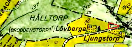 Karta 1960. Lövtorpet med rött markerat. Lantmäteriet Historiska Kartor