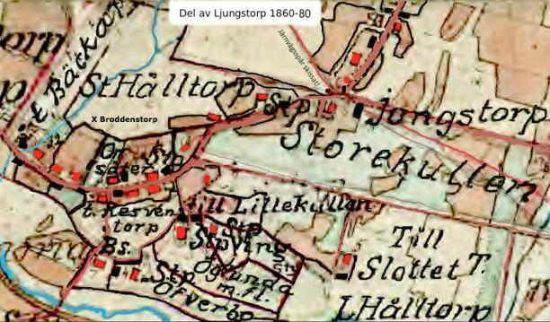 Med rött ifyllda bostadshus som de kan uppfattas på 1877 års karta vid förstoring (Kent Friman, 2013)