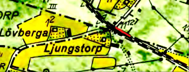 Karta 1960 Lantmäteriet Historiska Kartor. Anhaltens perrong utmärkt med rött.