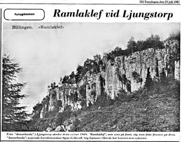 Artikel från Skövde Nyheter förmedlad av Verna Andersson, Ljungstorp