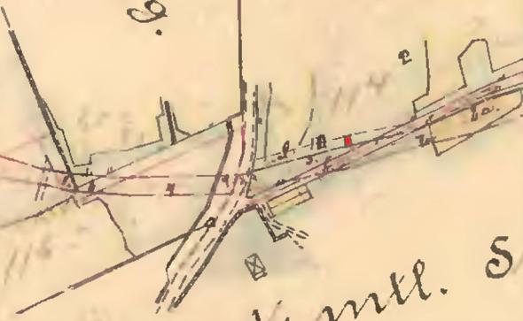 Exproprieringskarta 1902 Skövde Axvalls Järnväg, Lantmäteriet Historiska Kartor, - inhysesstugan markerad med rött inom huskroppen utmärkt på kartan, Kent Friman, 2014.