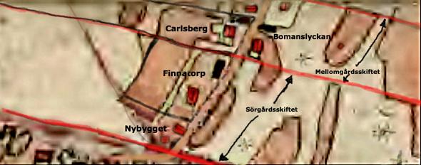 Lantmäteriet Historiska Kartor - karta 1877. Starkt förstorad, ifylld och redigerad av Kent Friman, 2014.