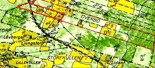 Carlsbergs förpantning utmärkt på kartan med rött före avskiljande av mark till Järnvägen och senare Skövde kommun. Streckat rött är Mellomgårdsskiftet i Billingeliderna, dvs 1/16 mantal Millomgården