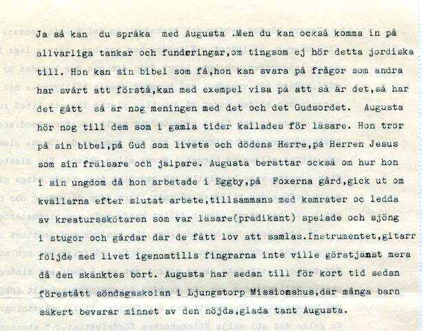 Dokumentet från Gunborg Ferms samlingar, Ljungstorp, 2014.