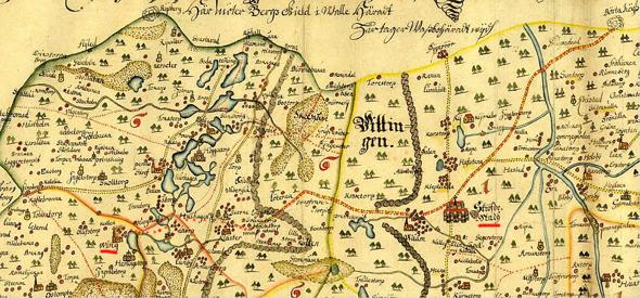Detalj ur karta: Special Landsortt Geographisk Afritning öfwer Skaraborgs och Orreholms Lähn med dess Bekriftenheter efter sin rätta Situation Noterat och her under på Chartan finnes Specificerat som