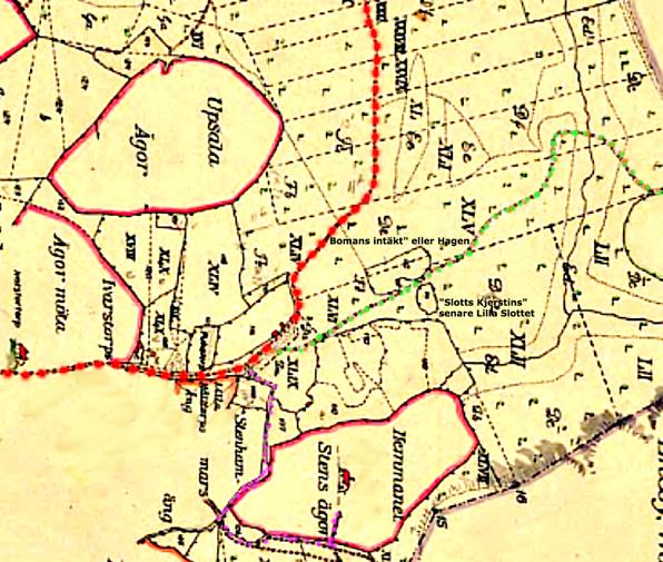 Kata Lantmäteriet Historiska Kartor. OBS! Kartan vänd så att ungefärligt norr uppnås uppåt i kartbilden! 1794 års karta inför skiftet av Billinge-liderna 1803.