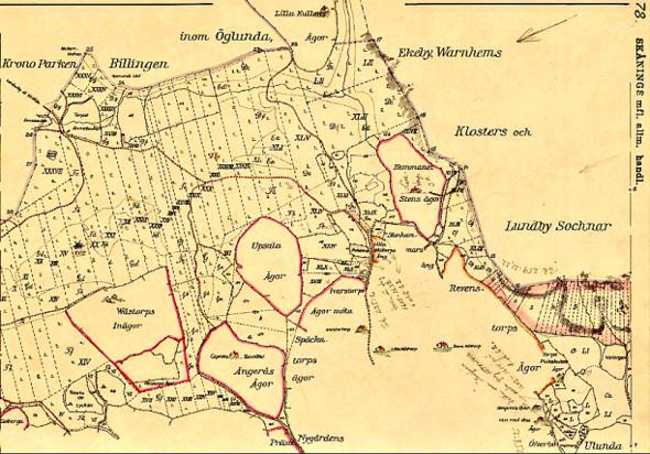 """Klicka på kartan för större bild! Karta 1794 avseende alla de skiften som lades in på den gamla Kronoparken Billingen i delen """"Billingeliderna"""". Se norrpil till höger. Norr är alltså till vänster!"""