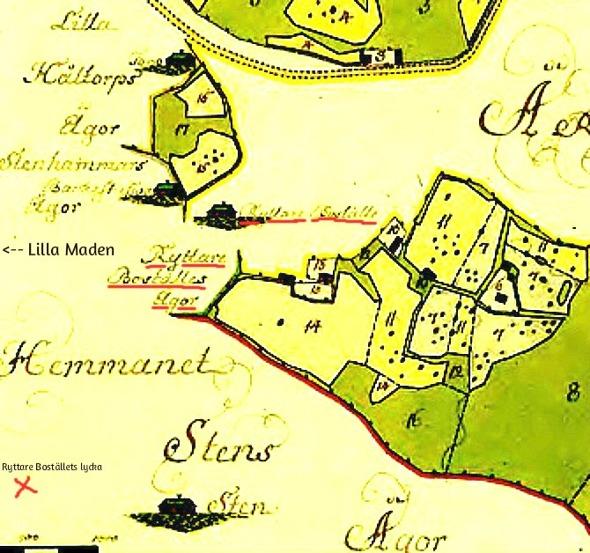 Karta 1764 för skapandet av Broddenstorp som skogvaktarbostad åt Heideridare Anders Flinck. Ryttare Bostället vid Vadet. Karta från Lantmäteriet Historiska Kartor.