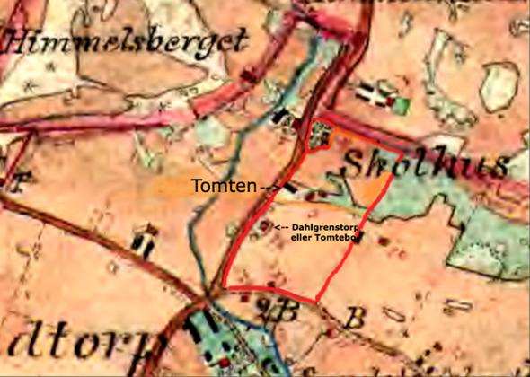 Den röda tjocka gränsen på kartan är gränsen mellan Varnhems och Lundby församling.