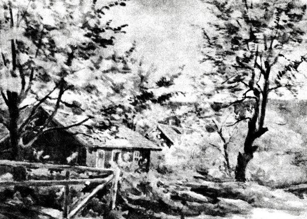 Källebackens backstuga, Ljungstorp målad av Signe Hemberg, 1920-tal. I bakgrunden ses Melltorp som står kvar ännu idag.