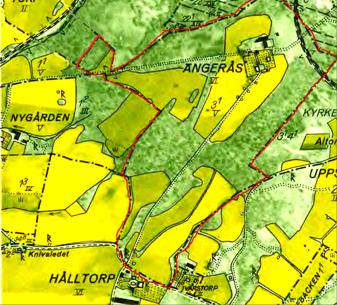 Ängarås med rött för nära ägor på karta 1960. Lantmäteriet Historiska Kartor