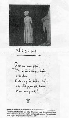 Sida ur Birgitta Lundéns Projektarbete om Olof Thunman i Västergötland 2005/2006, Högskolan i Skövde.