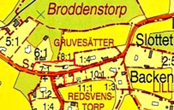 Lantmäteriets karta, copyright - Smedjebacken utmärkt med extra rött, KF, 2014