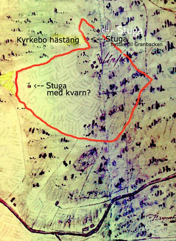 Utmärkning i rött är en förstärkt ifärgning av tydlig gräns för Upsala hemman 1801 på kartan av Kent Friman, 2013.