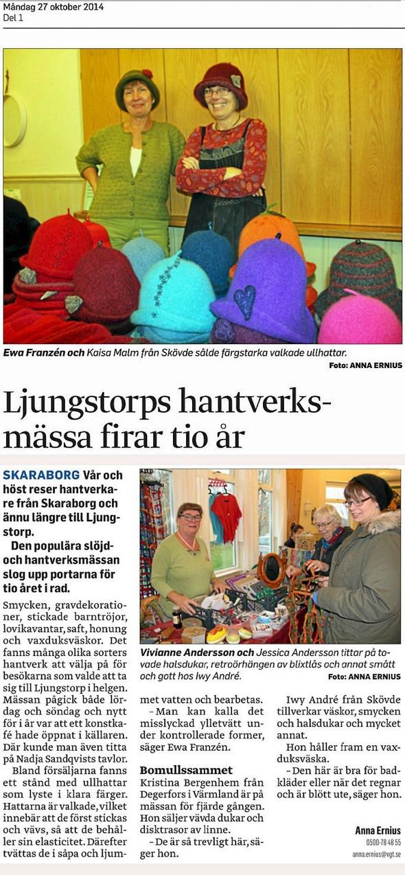 Urklipp inlagt av Ari Laaksonen på: http://www.bygdegardarna.se/ljungstorp/2014/10/28/2014-slojd-och-hantverksmassan-firade-10-ar/