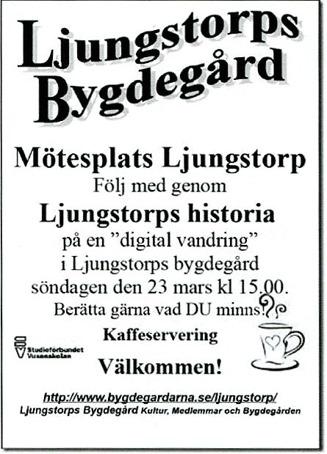 Kent Friman, Verna Andersson och Arne Sträng berättar via storbild direkt från hemsidan www.ljungstorpshistoria.se