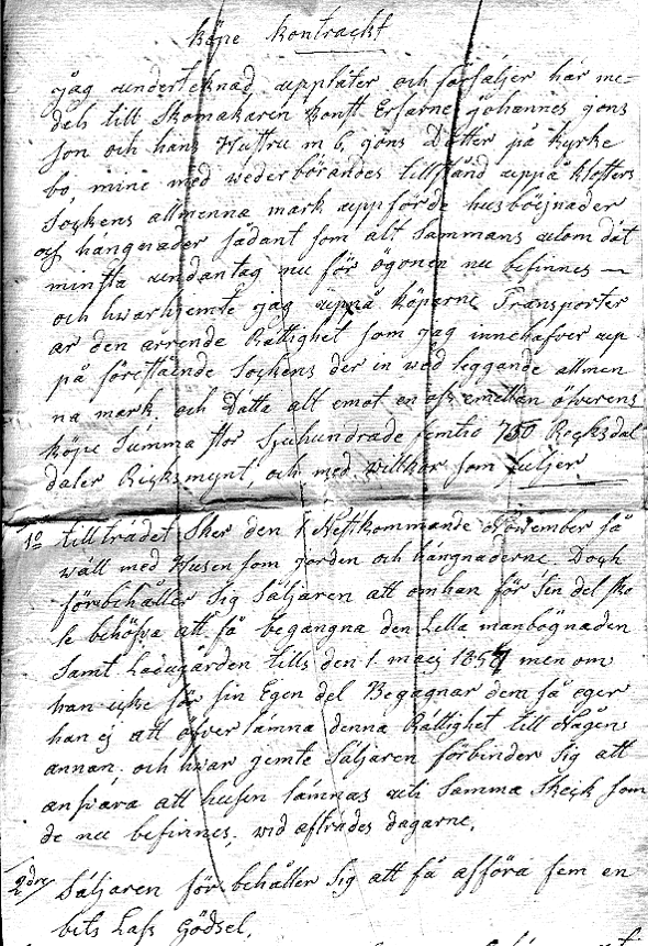 Köpekontrakt i original från Birgit Larsson samling, Skövde, 2015 - dotterdotter till Alma Jonsson, Johannes sondotter.