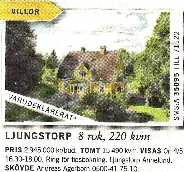Annons införd 23/4 2011 - från Verna Anderssons samling, Ljungstorp