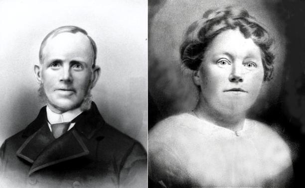 Carl Svensson, född i Warnhem 1829..................................................................................... Hustrun Anna Greta Pettersson, född i Sköfde 1834. Redigerat från kolorerat foto bakom glas.