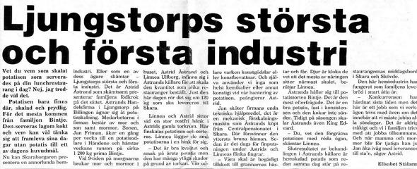 Klicka på texten för att se den större! Urklipp 1983 från Verna Anderssons samling, Ljungstorp, 2016
