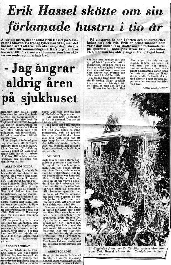 Urklipp från 11/8 1981 - ur Jaen Frimans samling, 2016