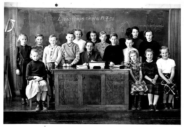 Bild från Lennart Strömberg, 2016. Skolsalen med kateder och svarta tavlan 16/3 1956.