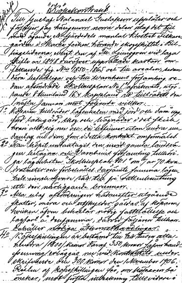 Sparresäters kopekonttrakt Gustaf Natanael Gustafsson 1905