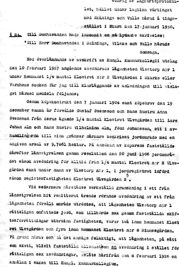 Originaldokument via familjen Malmberg/Molinder, Ulvsgården 1, Ljungstorp