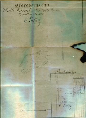 Hagen karta 1857 - fotograferad från glasad tavla Hagen 2016