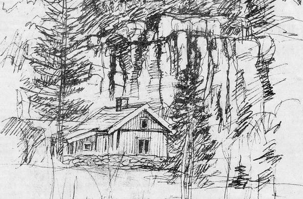 Åkersdal med Ramlaklev - teckning Göran magnusson - från urklipp i Verna Anderssons samlingar, Ljungstorp, 2016