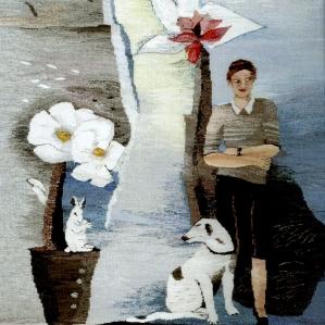 Kvinna med hund, 2014, 72 x 92 cm