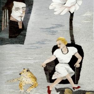 Kvinna med katt, 2014, 72 x 92 cm
