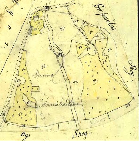 Ängarås med underlydande Dunagården 1841