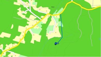 Karta eniro med ungefärlig placering av Jätttegranen, samt vandringsleden dit.