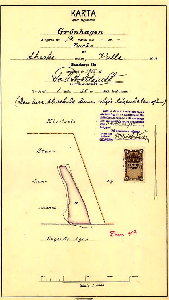 Karta 1918 som visar ägans utbredning 1875 genom hägnad.