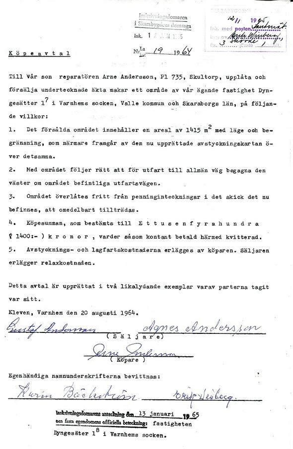 Köpeavtal Arne Andersson- dokument från Verna Andersson, Röset, Ljungstorp, 2017
