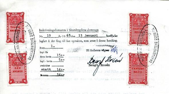 Lagfart Röset 1965 Arne Andersson- dokument från Verna Andersson, Röset, Ljungstorp, 2017