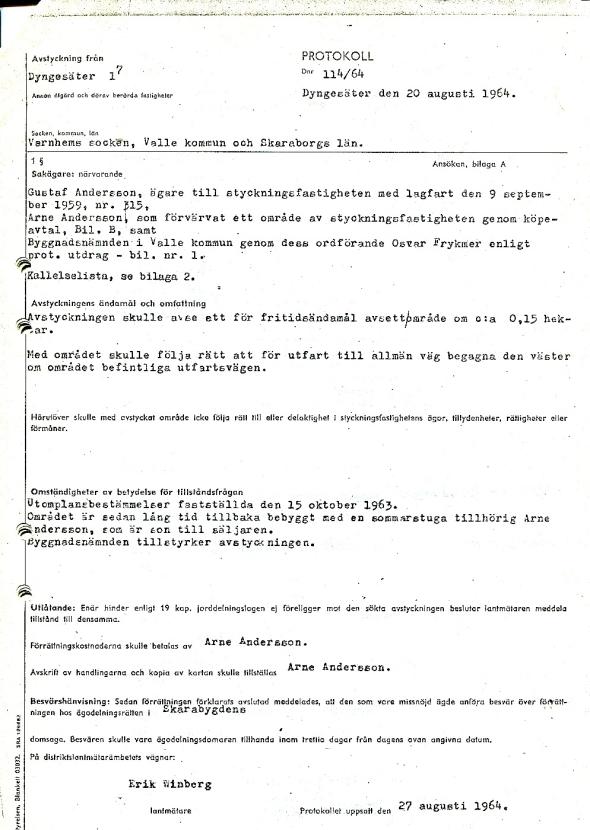 Avstyckningsprotokoll 1964 - dokument från Vewrna Andersson, Röset, Ljungstorp, 2017
