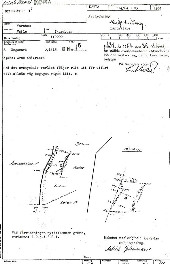Avstyckningskarta 1964 - dokument från Verna Andersson, Röset, Ljungstorp, 2017