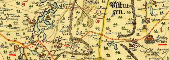 Karta över landsvägen mellan Skövde och Varnhems Kloster från 1645. Klicka på kartan för att se den större!