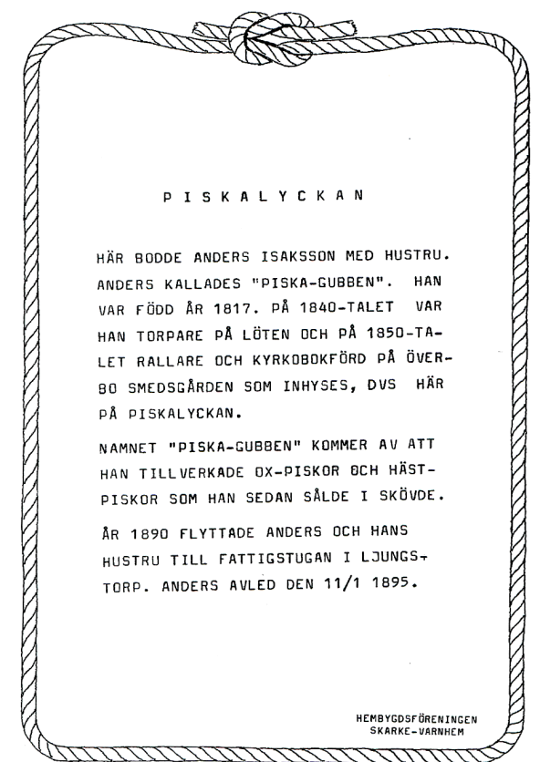 Textad skylt uppsatt av Nils Lann, hembygdsföreningen
