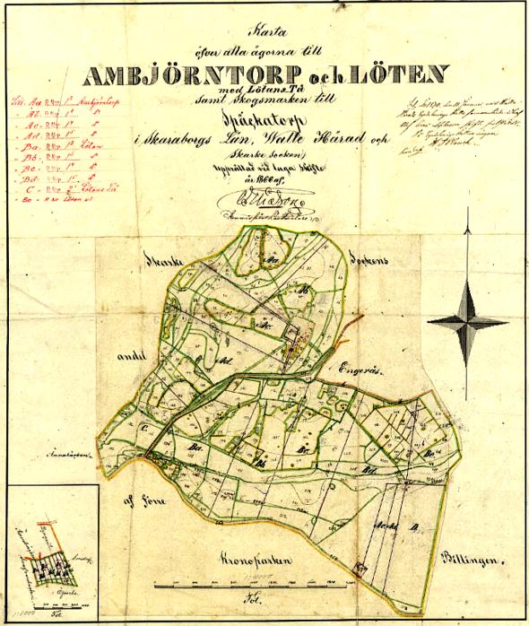 Laga skifte Löten 1866 - klicka på kartan för att se den större!
