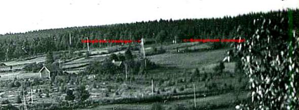 Klicka på bilden för att se den större! Utsikt från Ramlaklev 1930-tal - Linastugan utmärkt.