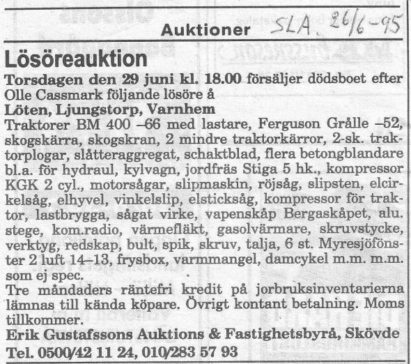 Cassmarks auktion