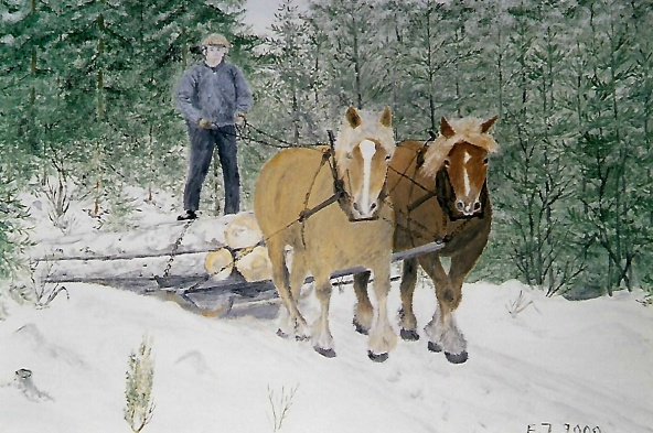 Tavla av David och hans ardennerhästar målad av Evert Johansson på Storekullen
