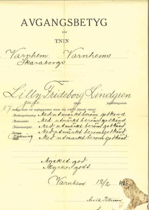 Undersrkivet av folkskollärare Håkan Gabrielsson - dokument från Mats Green, 2020