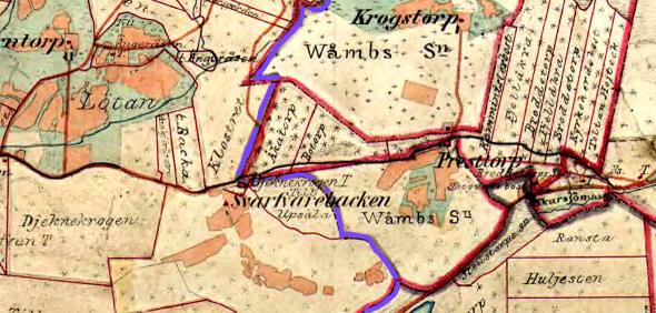 Lantmäteriet Häradskarta 1877 med dåvarande häradsgräns utmärkt med blått