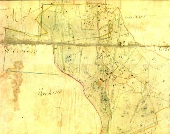 Den övre delen av originalkartan från 1844 - rentecknad nedan. Karta från Ulla Karlsson, Svarvarebacken. Klicka på kartan för att se den bättre!